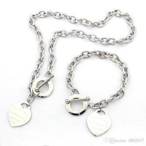 Designer Schmuck Liebe BIG Herz Armband Halskette 18K Silber T-Halskette mit Rose Gold Platin Luxus Frau Weihnachtsgeschenk 3 Farben