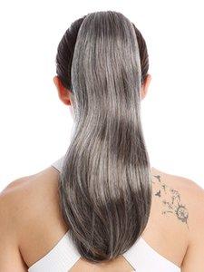 Il nuovo stile d'argento i capelli umani grigio avvolgere coda di cavallo parrucchino intorno colorante libero naturale hightlight sale e pepe capelli grigi coda di cavallo di trasporto libero