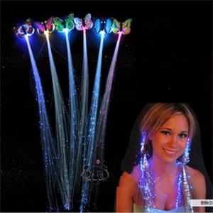 Trenza de fibra óptica de mariposa Led Light Up Toys Flash Braid Seven Colors Flash Pigtail Fiesta de cumpleaños Cheer Venta caliente 0 85xq J1