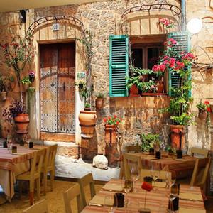 Custom 3D Photo Wallpaper Retro Nostalgic Cafe Restaurant Wallpaper European Street Building Mural Wall Paper Art Home Decor