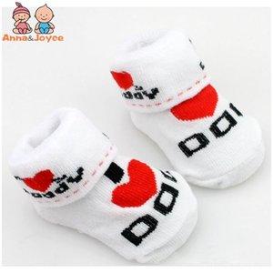 20Pairs / lot Baumwollbaby-Gummirutschhemmende Boden Liebe trifft Baby-Kinderkleidung Dad Liebe-Mamma-Karikatur-Kind-Socken