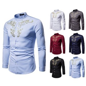 New winter fashion personality concise court style embroidery design men's long-sleeved big yards casual long-sleeved shirt
