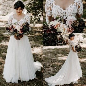 2020 Paese Vintage Una linea vestiti da sposa V Neck Appliques del merletto lunghe maniche Backless Corte dei treni Tulle Plus Size Bridal Gowns