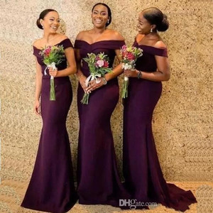 Grape Mermaid Lange Brautjungfernkleider Saudi-Afrikaner Weg Von Der Schulter African Maid Of Honer Kleid Zurück Reißverschluss Hochzeitsgast Kleider BC1288