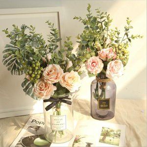 artificial folowers for decoration,INS wind rose eucalyptus artificial flower manufacturer home decoration wedding holding flower wall fake