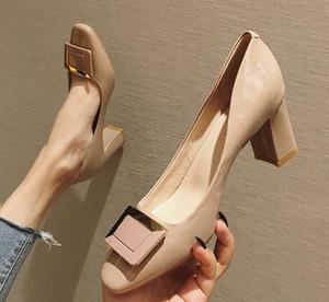 Tasarımcı Kadınlar Çıplak tıknaz topuk Deri ayakkabı Rugan Hight topuk 7cm Moda lüks loafer'lar Kare Ayak parmakları Elbise ayakkabı pompaları