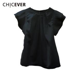 Chicever Ruffles Mulheres Brancas Tops E Blusas O Pescoço de Manga Curta Magro Camisas das Mulheres Negras Coreano Moda Roupas Casuais Novo J190614