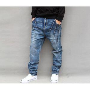 Herren Jeans Haremshosen Denim mit tiefem Schritt Jogger losen elastischen Stretch-lange Hose Jeans in Karottenform Neu