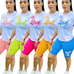 Estate delle donne Love Letters Offset 2pcs Suits Pullover O-Collo Pantaloncini Abbigliamento da running Sets Designer vita alta Tute