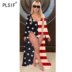 2020 new style stars   striped spliced fashion women's wear sexy triangle shorts bodysuits + long loose cloak 2 piece sexy suits