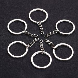 Portachiavi in argento lucido 30mm portachiavi anello diviso con portachiavi a catena corta donna uomo fai da te portachiavi accessori 10 pezzi