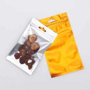 100pcs Gold Mylar Filk Pochettes Sac d'emballage auto-scellant Clair sur la pochette de l'emballage électronique et des fruits