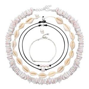 Kabuk Inci Gerdanlık Kolye Kadınlar için 5 adet Boho Kolye Hawaii Seashell Gerdanlık Ayarlanabilir Kordon Seti