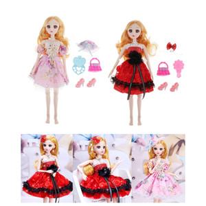 Doğum Hediyesi için 2 Set Doll 36cm 14inch Ball Jointed Bebekler Tam Set Giyim Ayakkabı Peruk Makyaj Oyuncak