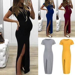 Melhor Venda de Verão Curto Seeve Dividir Vestido de Maternidade 2019 Nova Tripulação Pescoço Elegante Mulher Grávida Vestido Ocasional de Algodão S-6XL Plus tamanho