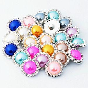 Chunks 18mm gengibre Snaps Cristal Rhinestone Faux Pearl Pearl DIY Jóias Fit Snap Button Bracelete Colar Jóias em Bulk Atacado