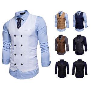 Mens Double Breasted Suit Vest Nova Slim Fit Colete Vest Partido Masculino Wedding Tuxedo Vestido Gilet
