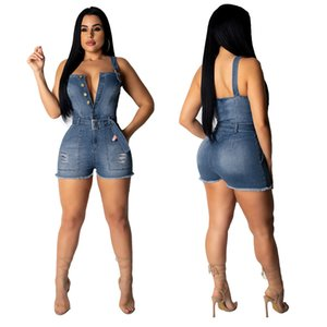 2020 Women Summer Sexy Jumpsuits Brand Womens V Neck Shorts Jumpsuits with Button and Sashes Women Sexy Strapless Halter Hole Jumpsuit