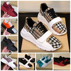 Con la caja de la zapatilla de deporte de los zapatos ocasionales Formadores Moda Calzado deportivo de cuero de alta calidad de las botas deslizadores de las sandalias de la vendimia de aire para la mujer 04BL1901