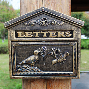Wall Mounted Cast Aluminium Mailbox Vögel Briefe Post Mailbox Postbox Metall Handwerk Bronze Vintage Home Wohnung Dekor Gartenarbeit Antik