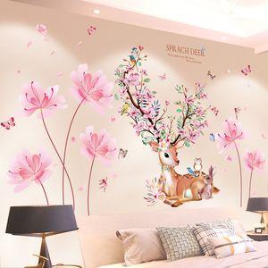 [Shijuekongjian] Deer Animal pegatinas de pared DIY flores planta pared calcomanías para casa niños habitaciones bebé dormitorio Decoración