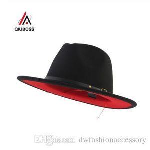 Black Red Patchwork Wool Felt Jazz Fedora Hats Belt Buckle Decor Women Unisex Wide Brim Hat Panama Trilby Cowboy Cap Sunhat