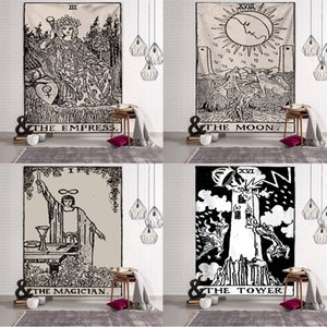 타로 카드 태피스트리 벽 매달려 별자리 운세 침대 덮개 요가 빛나는 패션 편안한 비치 매트