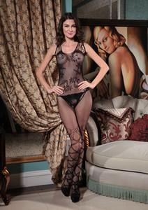 Frauen Blumenspitze Ärmel Bodystocking Multi-Straps Schwarz Crotchless Wäsche Nachtwäsche Nachtstrumpfhose 2020 Damen reizvolle Unterwäsche