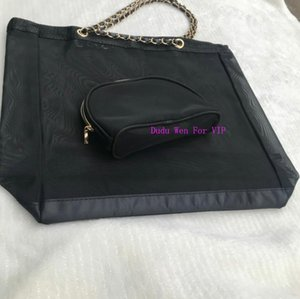 blackcolor ~ 2 Vip bolsa de bolsa de almacenamiento de regalo de la manera C Orgainizer mujeres con malla de asas con la moda ribbion viaje organizador del acoplamiento perrty para el hogar