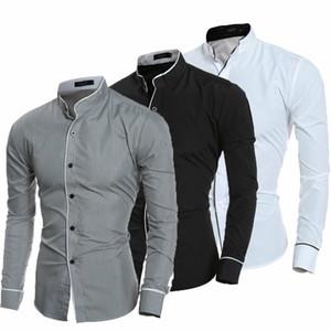 2019 봄 가을 남성 셔츠 새로운 도착 긴 소매 럭셔리 슬림 맞는 남성 셔츠 Chemise Camisa Social Masculina Dress Shirt