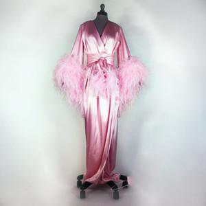 실제 이미지 핑크 웨딩 가운 실크 긴 소매 깃털 장식 띠 나이트 가운의 경우 여성 사용자 정의 만든 여성 잠옷 잠옷