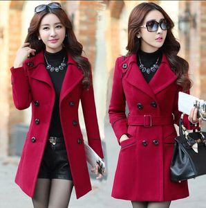 Spring Autumn winter woolen coat women's mid-length lapel belt slim double-breasted woolen coat Outerwear Windbreaker jacket coat