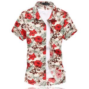 2016 Flower Mens shirt chinês Estilo manga curta Camisa floral Homens Plus Size 6XL Casual Slim Fit algodão mercerizado Shirts