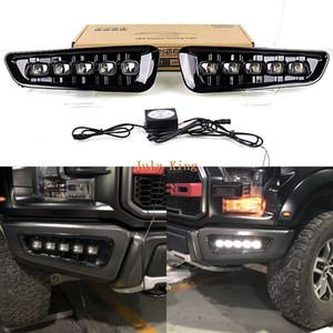 1, Detay, Hızlı Kargo: Ford F-150 Raptor 2017+, LED Ön Tampon Beyaz DRL, 1 Işıklar Davasını Koşu Temmuz Kral LED Gündüz