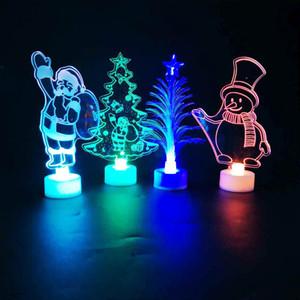 Led Christmas Night Light Lámparas de acrílico de dibujos animados en la mesa Luces intermitentes de noche para Santa Claus Decoración de árboles de Navidad Regalos XD21176