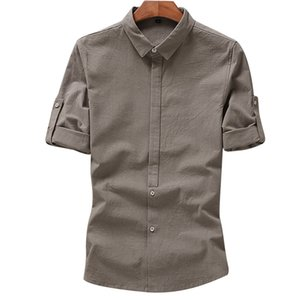 Anbican Fashion 2019 Verano Transpirable Camisas de Lino de Algodón de los hombres de Manga Corta Estilo Chino Delgado Camisas Casuales Hombre Más El Tamaño 4XL