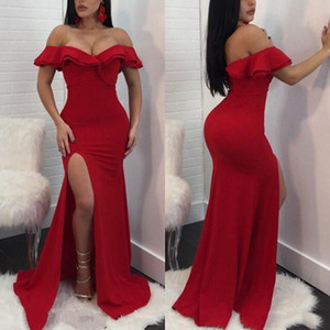 Cheap Red Prom Dresses Mermaid Off The Shoulder Side Split Formal Gowns Sexy Plus Size Thigh High Pageant Evening Gown