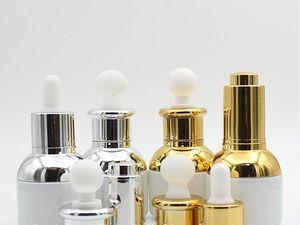 30мл Пустой Перезаправляемые Высококлассные Pearl White Стеклянная бутылка Эфирное масло Косметика Jar Пот Контейнер Пузырек со стеклянной пипеткой SN2200