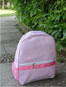 두 가지 색상 seersucker 유아 가방 유치원 배낭 메쉬 포켓이있는 소년과 소녀 도서 가방을 위해 수 놓을 수 있습니다.