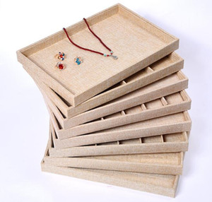 Linen Jewelry Display Case Storage Organizer Tray Box 12 Grid 24 Grid for Necklace Rings Tray