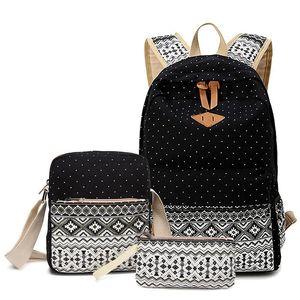 Winner Marca Señora bolsos del morral Mujeres punto de impresión Medio mochila de lona de la vendimia del Estudiante La Mochila Mujer