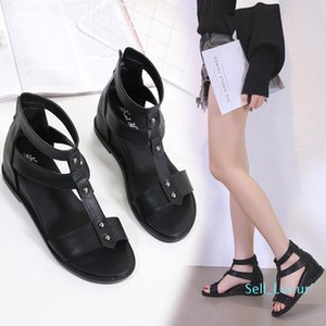 Pop2019 Women's Toe Rome Shoes Flat Bottom Slope With A Kind Of Shoe Within Increase Suit-dress Sandals 813-3