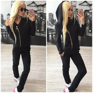 Hooded Designer Tracksuits Women Solid Color 2 Piece Pants Zipper Sports Long Sleeved Casual Fashion Womens Tracksuits