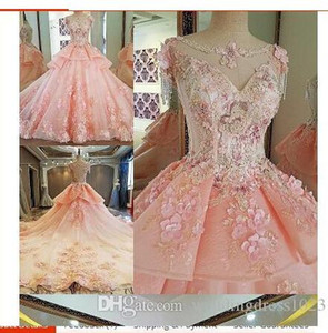 Elegant Pink Wedding Dress 2017 Scoop Neck Sleeveless Ball Gown Cathedral Train Appliques Tulle Wedding Dresses Robe de mariageU29