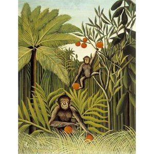 Wall art Animal paintings The Monkeys in the Jungle by Henri Rousseau Handmade canvas oil painting home decor