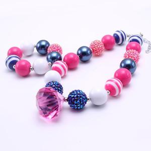 Hot Pink + Navy Цвет Коренастого NecklaceBracelet Set Мода Rhinestone шарики Дети девушка Bubblegum Коренастого ожерелье из бисера комплект ювелирных изделий