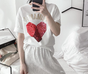 For Womens Summer Letter Printed Short Sleeve Girl Clothing Casual Couple Tees Fashion Sequins T-shirt