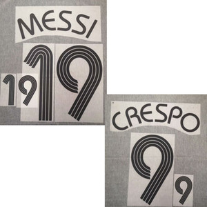 2006 #19 MESSI Nameset #11 TEVEZ #9 CREPO #10 riquelme Printing Customize Any Name Number Soccer Patch Badge