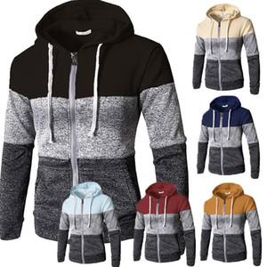 NUOVI uomini Zip Up Hoodie Hoody Patchwork felpata casuale calda corrente di alta qualità Mohair incappucciato Outwear Tops Plus Size M-3XL