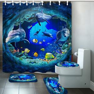 180 * 180 3D Océano Dolphin Deep Sea poliéster cortina de ducha del cuarto de baño Cortinas pedestal Alfombra tapa del inodoro cubierta Alfombra de baño Set